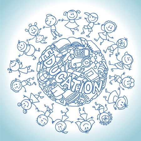 hand drawing vector illustration. Cartoon children in a circle.