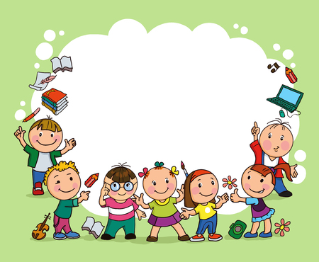 Groupe d'enfants joyeux tenir la grande feuille de papier Banque d'images - 46725651
