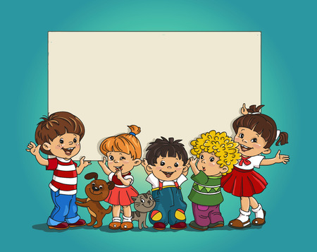 child education: Cartoon group of merry children hold the large sheet  paper.