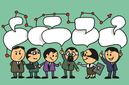 discussion: Hand drawing vector illustration. Cartoon group of people leads a discussion with speech bubbles.