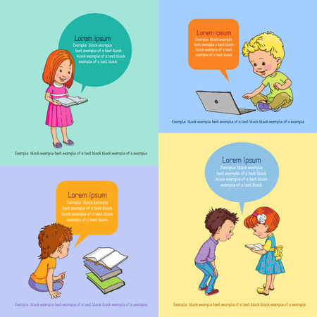 handcarves: children read a book on a background of speech bubbles with text. Infographics background education.