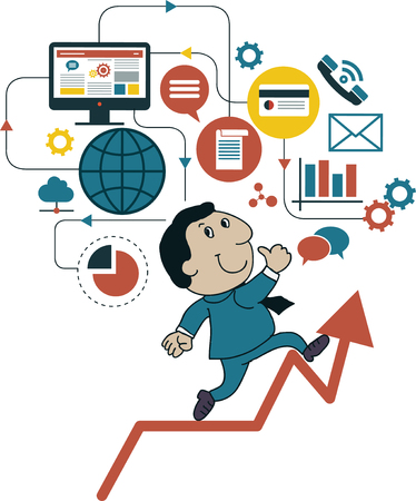 business finance: Elements a icons Finance make in businessman concept.Growth in business.