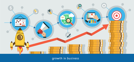 Flat vector illustration. Growth in business. Business start infographics template. Promotion from start to goal