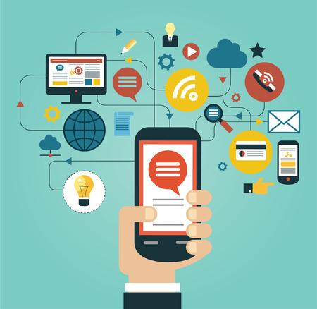 통신: 아이콘으로 둘러싸인 전화와 사람의 손입니다. 네트워크 통신의 개념
