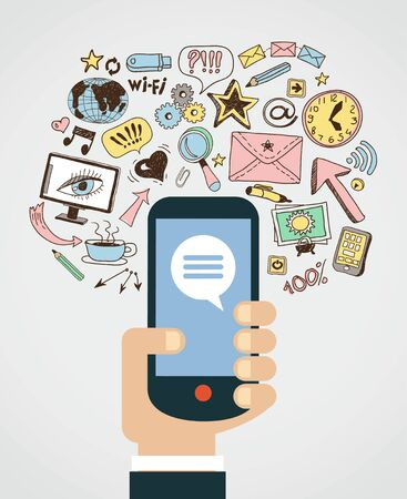 Hand of the person with the phone surrounded by icons. Concept of communication in the network Stok Fotoğraf - 46874149