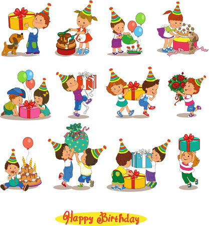 fun day: Cartoon.Funny kids with gifts Illustration