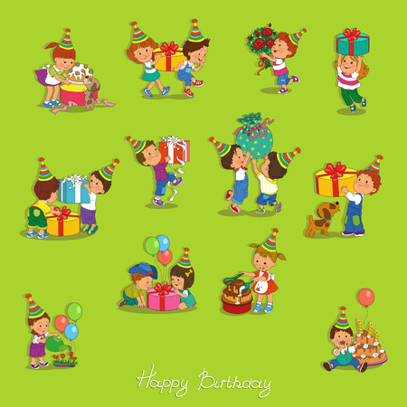 carved letters: Cartoon.Funny kids with gifts Illustration