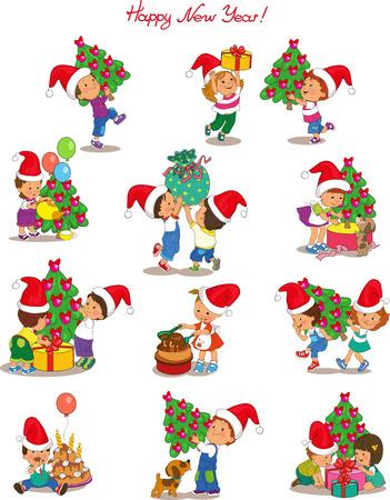 Vector. Los niños lindos de la historieta que desgasta a Papá Noel en la preparación para las vacaciones de Navidad y Año Nuevo. Objetos aislados. Foto de archivo - 46874155