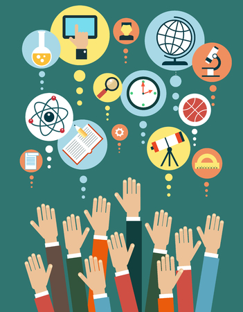 Modern vector illustration concept. Iinfographics background education. Human hand and icons of education.