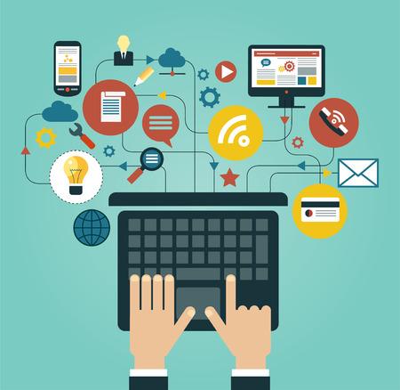 통신: 아이콘에 둘러싸여 노트북과 인간의 손입니다. 네트워크 통신의 개념