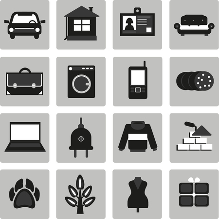 buying real estate: Vector, set icons for ads. Selling, buying. Selling, buying, exchange. Cars, real estate, clothing, jobs, services, appliances, business,  animals, plants.