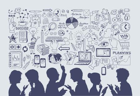 通訊: 經營理念。手工繪製矢量插圖。人對業務圖標的背景剪影。 向量圖像
