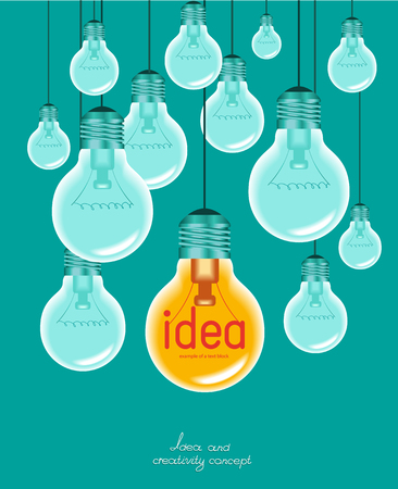multi coloured: Creative light bulb Idea concept background design for poster Illustration