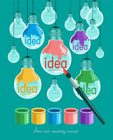 idea bulb: Creative light bulb Idea concept background design for poster Illustration