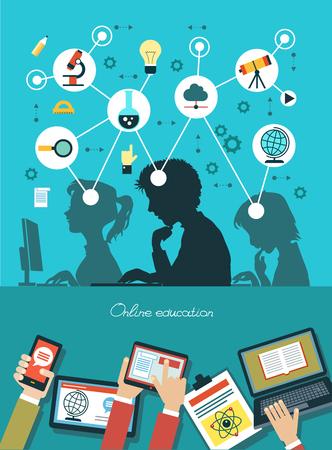 교육: 아이콘 교육. 교육의 아이콘으로 둘러싸인 학생들의 실루엣입니다. 개념 온라인 교육. 휴대 전화, 태블릿, 노트북 및 인터페이스 아이콘 인간의 손.