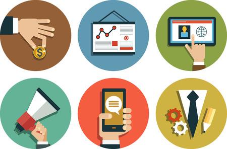 Infografik Hintergrund-Geschäft. Geschäftskonzept. Stellen Sie Ikonen Illustration