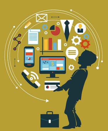 Silhouette Mann auf dem Hintergrund von Icons. Infografik Hintergrund-Geschäft. Geschäftskonzept. Stellen Sie Ikonen
