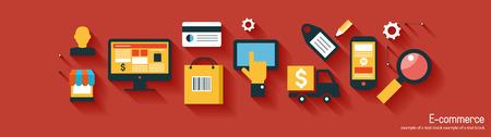 Infografía fondo de comercio electrónico. Concepto de negocio. Fije los iconos Foto de archivo - 47628107