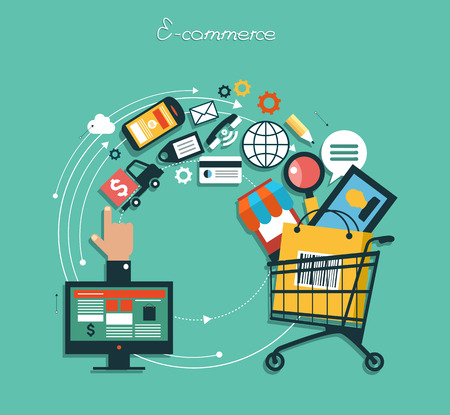 compras: infografía fondo de comercio electrónico. Concepto de negocio. Fije los iconos