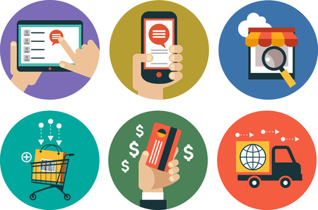 retail sales: infographics background E-commerce. Business concept. Set icons