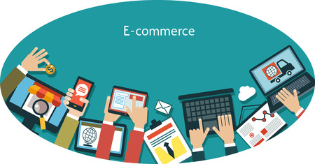 infographics background E-commerce. Human hand with a mobile phone, tablet, laptop and interface icons in an oval. Business concept. Illustration