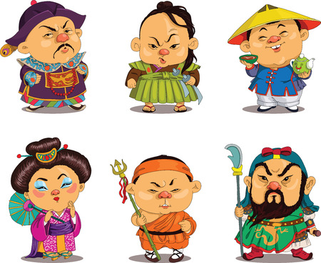 personnage: Dessin animé. Vecteur. Chinois drôles en costumes nationaux, bande dessinée parodie. Personnages. jeu chinois. objets isolés.