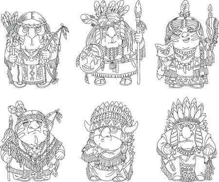 chief: Cartoon funny Indians coloring. Characters. Indians set. Isolated objects. Made black outline.
