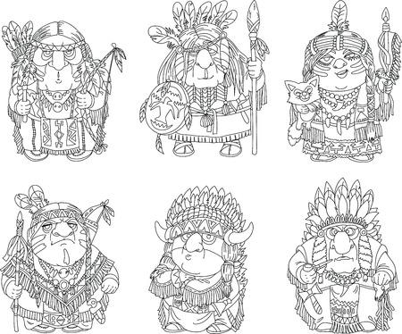 etnia: Divertidos dibujos animados para colorear indios. Caracteres. Indios se pusieron. objetos aislados. Hecho contorno negro.