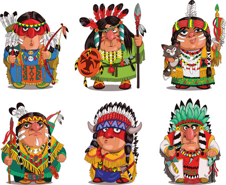 indian art: Cartoon Indians. Funny, travesty cartoon. Characters. Indians set. Isolated objects. Illustration