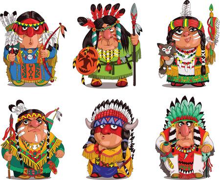 indios americanos: Indios de la historieta. , De la historieta parodia divertida. Caracteres. Indios conjunto. Objetos aislados. Vectores
