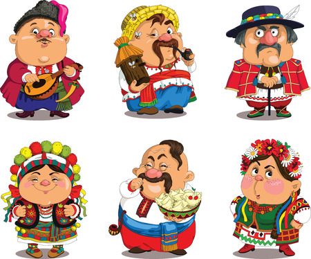russian food: Cartoon Ukrainians. Funny, travesty cartoon. Characters. Ukrainians set. Isolated objects. Illustration