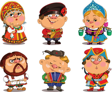 Cartoon. Vector. Funny in Russian folk costumes. Travesty cartoon. Characters.   Russian set. Isolated objects. Vettoriali