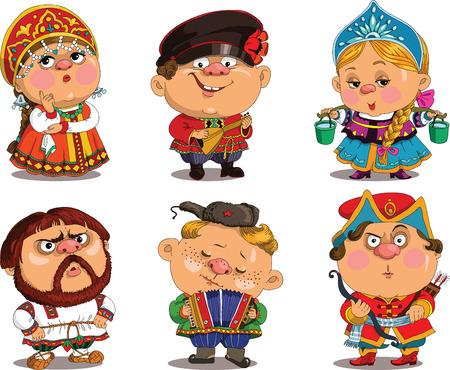 Dos desenhos animados. Vetor. Engraçado em trajes populares russas. desenhos animados caricatura. Personagens. conjunto russo. objetos isolados.