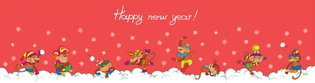 frolic: Card. Cartoon. Funny monkeys frolic in the snow. On a pink background. Illustration