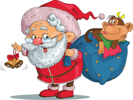 Vector. Funny cartoon. Santa Claus in the arms of a monkey. In his other hand he holds a bag with gifts. Isolated objects.
