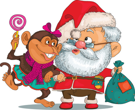 asian man smiling: Vector. Funny cartoon. Santa Claus in the arms of a monkey. In his other hand he holds a bag with gifts. Isolated objects.