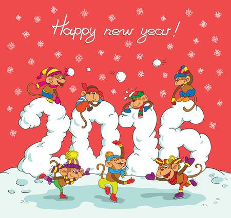 carnero: Invierno tarjeta de año nuevo chino lindo con el mono de dibujos animados lindo y 2016 las cifras. Sobre un fondo de color rosa.