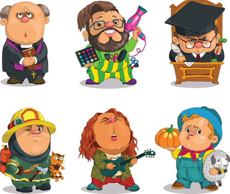 Funny cartoon. Positive characters. Vector illustration professions set. Parson, Stylist, Justice,Firefighter, Musician, Farmer.