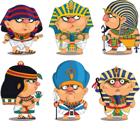 human: Cartoon. Vector.  Set Funny Egyptian Pharaohs. Travesty cartoon. Characters.  Isolated objects. Illustration