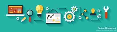 infographics background seo optimization. SEO concept. Set icons Stock Illustratie