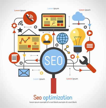 infographics background seo optimization. SEO concept. Set icons 일러스트