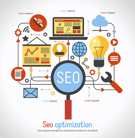 infographics background seo optimization. SEO concept. Set icons Ilustracja