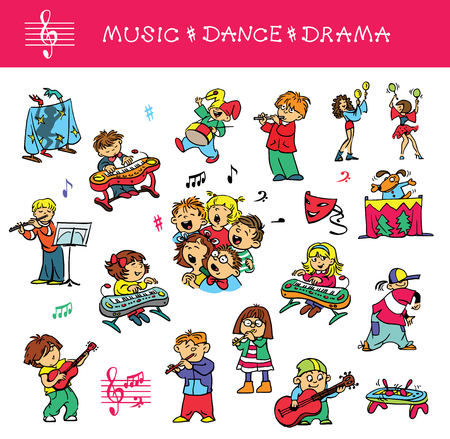Hand drawn. Vector illustration. A set of drawings of children engaged in music, singing and acting skills. Isolated objects.
