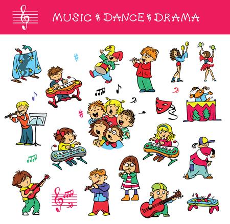 Hand getekend. Vector illustratie. Een set van tekeningen van kinderen die zich bezighouden met muziek, zang en acteren vaardigheden. Geïsoleerde objecten.