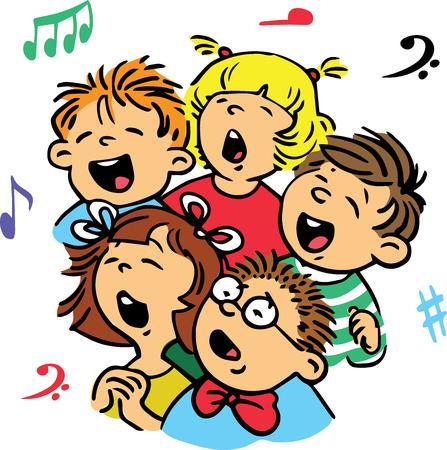 Disegnato a mano. Illustrazione vettoriale. Gruppo di bambini che cantano in coro una canzone.