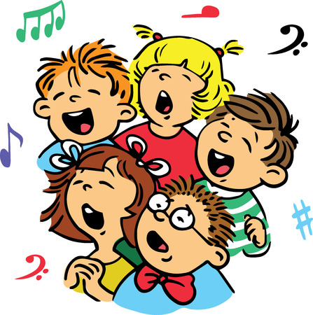 in unison: Hand drawn. Vector illustration. Group of children singing in unison a song.