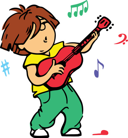 Hand drawn. Vector illustration. Boy playing guitar. Isolated objects.
