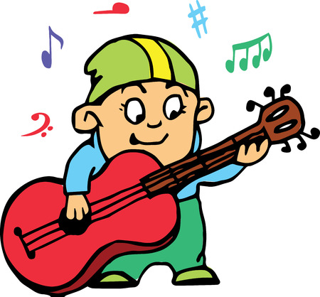 playing guitar: Hand drawn. Vector illustration. Little boy playing guitar. Isolated objects. Illustration