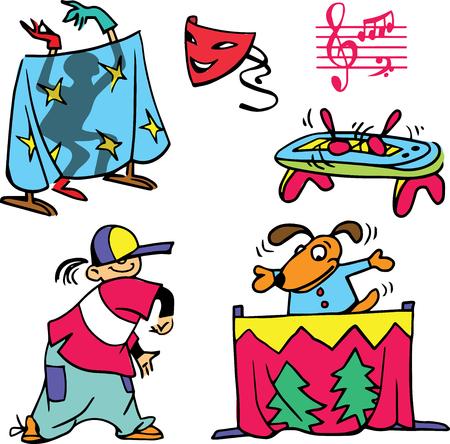 pantomima: Dibujado a mano. Ilustraci�n del vector. teatro infantil de dibujos animados. teatro de marionetas, pantomima, teatro de sombras. objetos aislados. Vectores