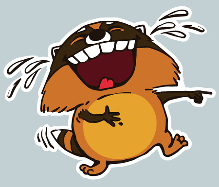 ha: Icon sticker funny, laughing raccoon. Cartoon. Vector. Characters. Isolated objects. Illustration